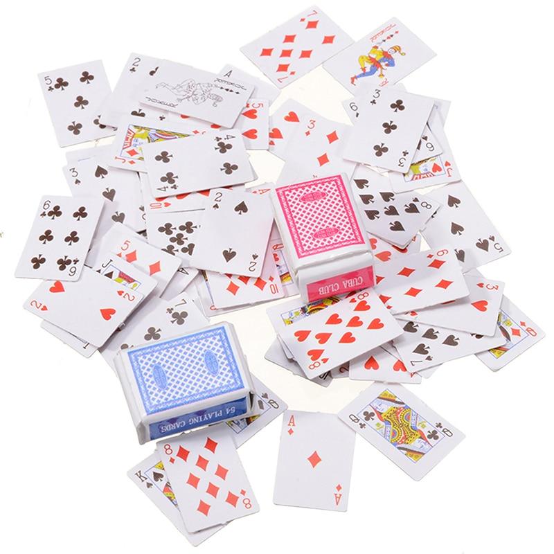 1 Set 1:12 Cute Miniature Dollhouse Cute Mini Poker Playing Cards Style Random Mini Cute Poker For Dollhouse