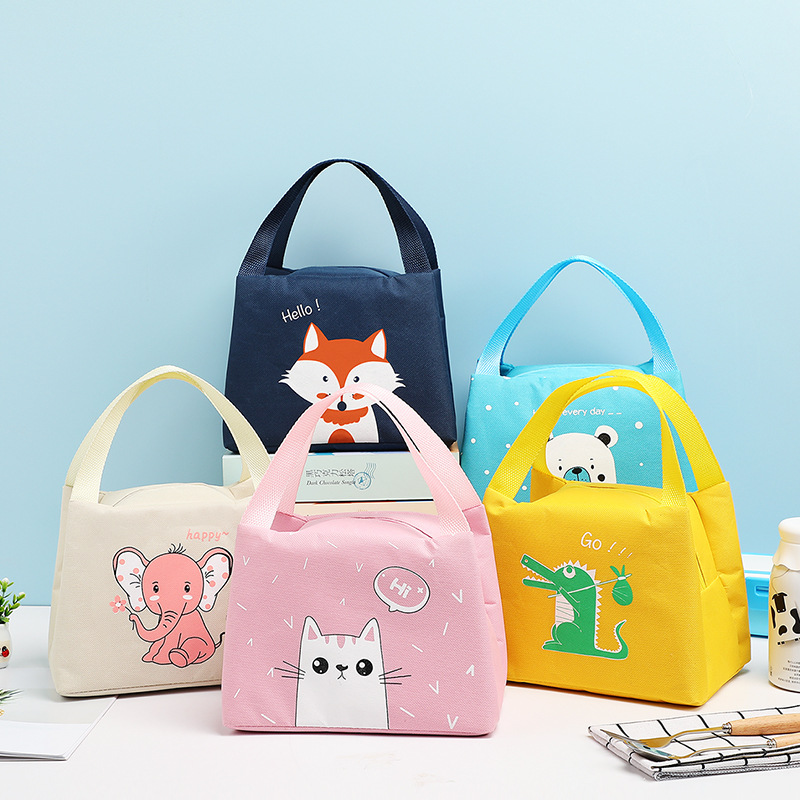 1Pcs Japanese Style Kids Lunch Bag Cute Animal Pattern Outdoor Protable Kids Breakfast Lunch Bag Box Outdoor Travel Food Bag