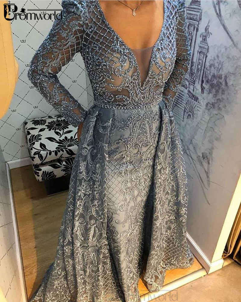 Gray Evening Dresses Long with Sleeves V-Neck Lace Beaded Mermaid Special Occasion Formal Party Gown 2020 abiye gece elbisesi