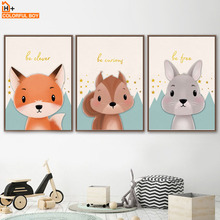 Fox Bunny Squirrel Bear Boy Girl Bedroom Nordic Posters And Prints Wall Art Print Canvas Painting Pictures For Kids Room