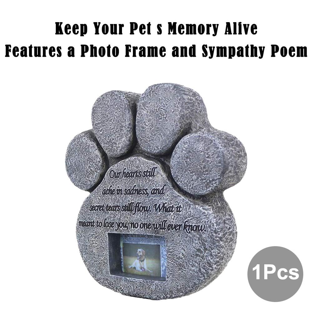 Image 5 - Memorial Tombstone for Pet Keepsake Gravestone Tomb Dog Cat Paw Print Animal Funeral Footprint Shaped Can Put PhotosPet Gravestones   -