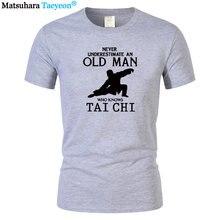 Camiseta de algodão de impressão humorística masculina o pescoço taiji nunca subestimará um homem velho que sabe camiseta