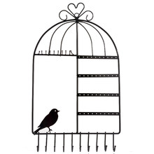Black Bird Cage Jewelry Rack Jewelry Earrings Jewelry Display Stand Earrings Necklace Stand Wall Clothing Hanging Rack(China)