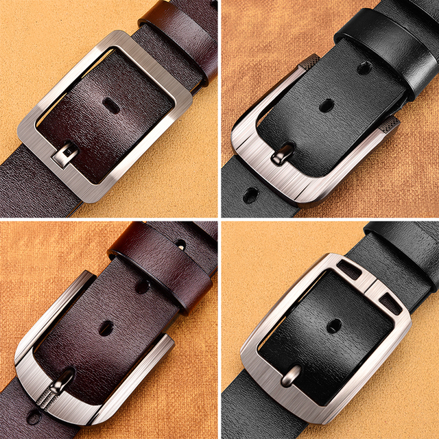 Genuine leather luxury strap male belts for fashion classic vintage pin buckle High Quality 2
