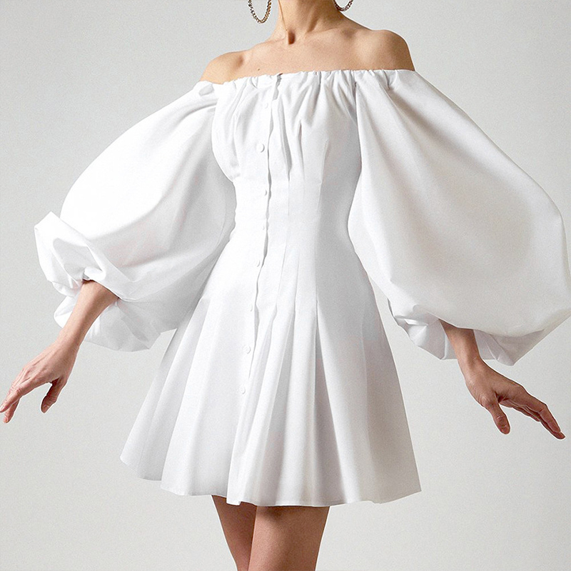 Париж, для девушек, Осеннее Новое Женское платье с пышными рукавами, вырезом лодочкой, высокой талией, французские винтажные темпераментные тонкие однотонные короткие платья для женщин Платья      АлиЭкспресс