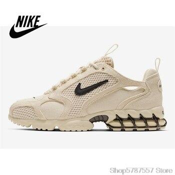 Stussy X Nike Air Zoom Spiridon Kafesli 2 Erkek Spor Koşu Ayakkabıları Sütlü Siyah çuval Bezi CQ5486-200