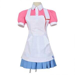 Anime Dangan Ronpa 2 Cosplay Costume Mikan Tsumiki Donne del Vestito Danganronpa Superiore del Pannello Esterno del Vestito Grembiule Rosa Scarpe Parrucca di Capelli Cos ragazze