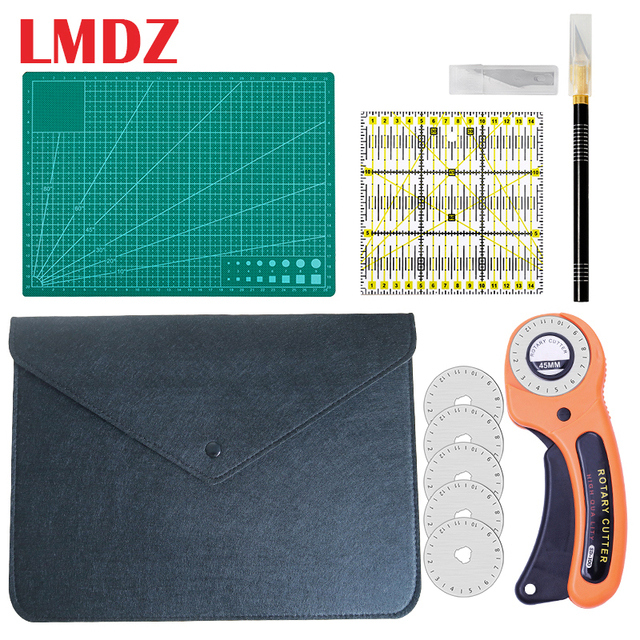$ US $20.34 LMDZ 5Pcs Sewing Kit Set Clothing Sewing Tools Hand Cutting Knife Set Patchwork Cloth Knife Patchwork Ruler DIY Sewing Quilting