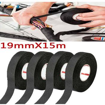19MM * 15M taśmy samochodowe kable w wiązce pojazdu hałas izolacja akustyczna czarna gorąca taśma z tkaniny samoprzylepnej taśma do stylizacji samochodów tanie i dobre opinie Hokerbat Drut Miedziany Noise Sound Insulation Wiring Harness Car Harness Tape Tain resistance