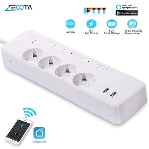Image 1 - WiFi Smart Power Strip Intelligent EU Plug Electrical USB Sockets Wireless Timer Remote Independent Control by Google Home Alexa