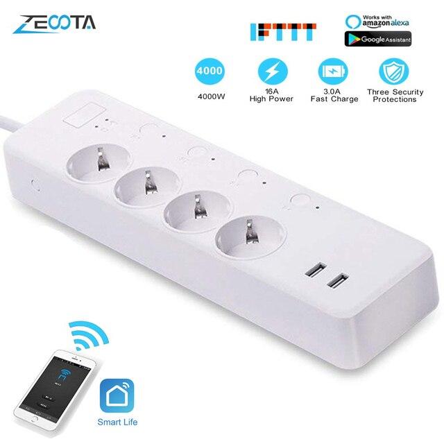 WiFi Smart Power Strip Intelligent EU Plug Electrical USB Sockets Wireless Timer Remote Independent Control by Google Home Alexa