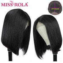 Miss Rola – perruque Bob Lace Closure wig péruvienne Remy, cheveux naturels courts, 4x4, 8-14 pouces, densité 150% 180%, pour femmes africaines