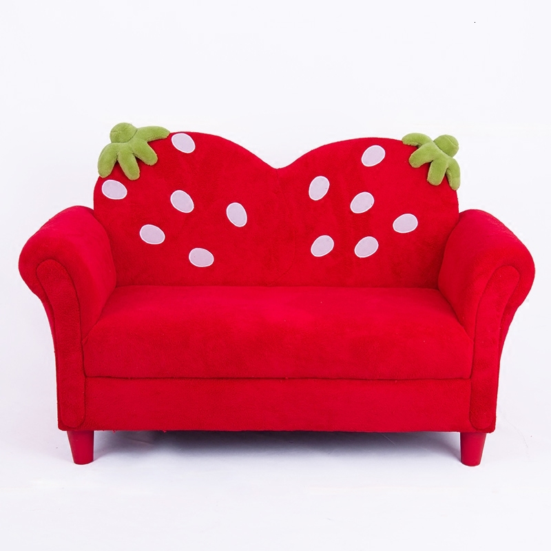 Baby Furniture Mini Korean Style Cartoon Double Person Strawberry Small Kids Sofa Fabric Art Children Sofa Chair Red Child Bed