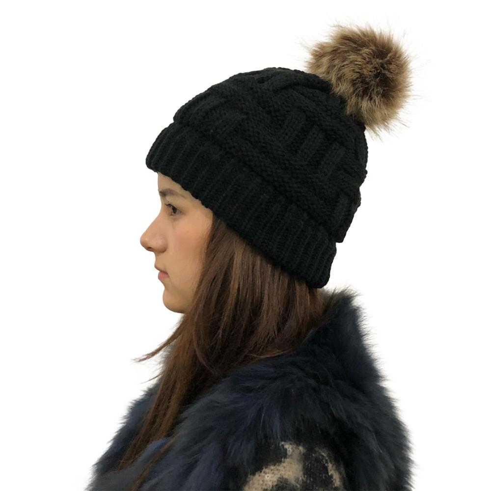 Cable Knit Beanie With Faux Fur Pompom Ears Winter Knit Beanie Hat Slouchy Skull Cap Real Fur Pom Pom Hats Cap For Girls
