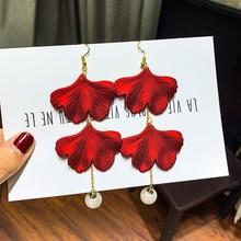 2019 New Korean Fashionable Rose Petal Long Earrings Acrylic Pearl Tassels Eardrop Elegant Female Jewelry