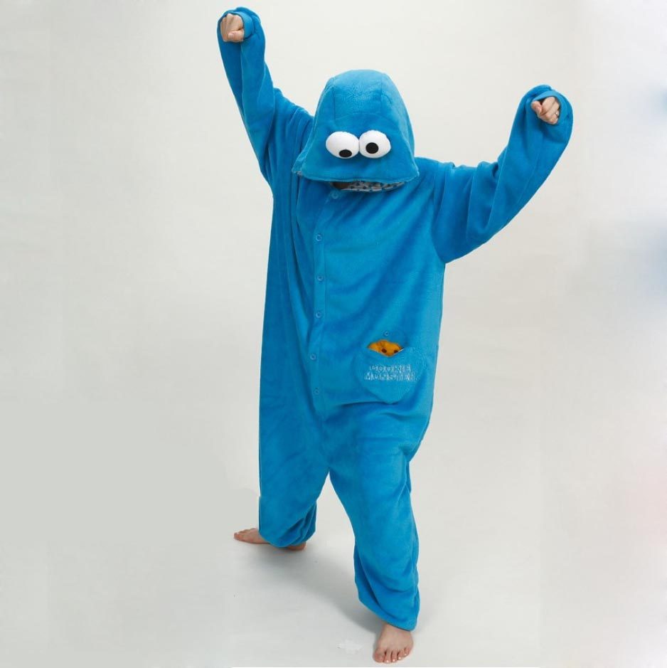 2019 Unisex Fashion Elmo Cookie Monster Cosplay Costume Adult Animal Onesies Sesame Street Costums For Halloween Romper Pajamas