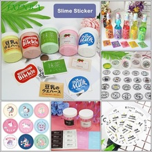 FXINBA New 6 Types Slime Box Stickers Cartoon Drink Unicorn Containers Storage Sticker Supplies DIY Lizun Decoration Tool