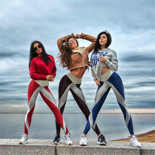 Fashion Stripe White Blue Red Motion Long Yoga Pants Self-cultivation Show Thin Hip Bodybuilding Pant Running Sportswear
