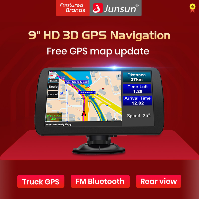 "Junsun 9"" HD Car GPS Navigation FM Bluetooth AVIN Navitel 2019 latest Europe Map Sat nav Truck gps navigators automobile A9