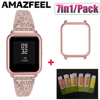 7in1 Luxury Bracelet For Amazfit Bip Strap Case Stainless Steel Band For Xiaomi Amazfit Bip Lite GTS Strap Case Screen Protector