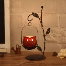 1Set Unique Owl Candlestick Iron Candle Holder Resin Lantern Candleholder for Christmas Gifts Cafe Home Decorative Ornaments
