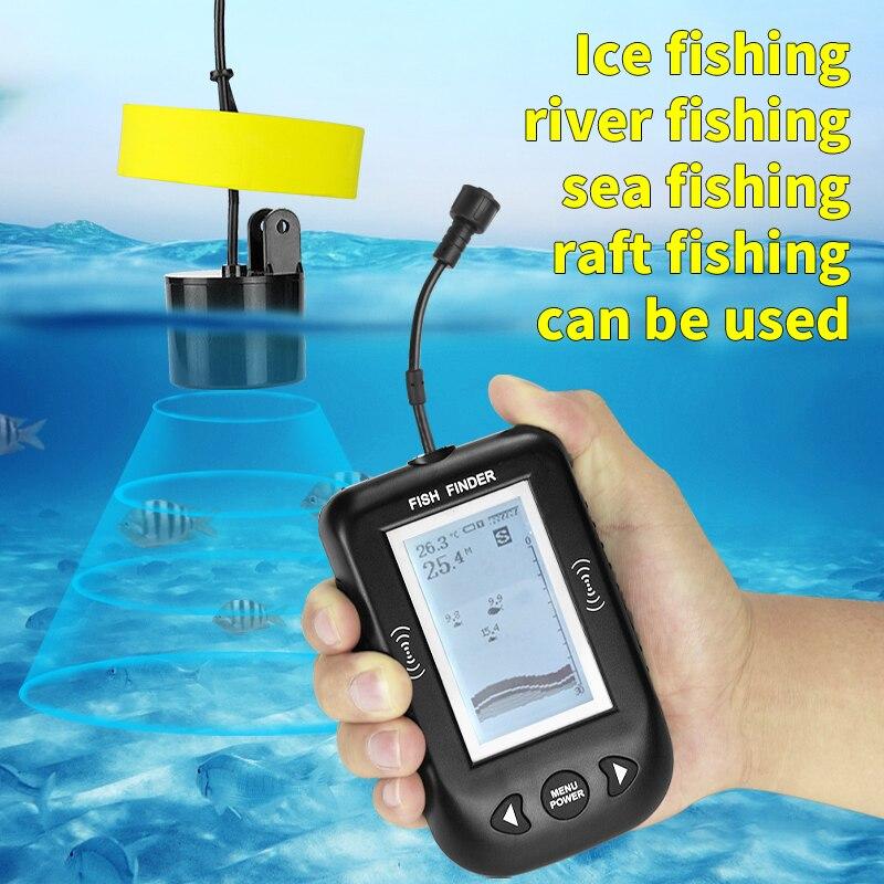 Russian menu! Erchang XF02 Fish Finder Depth Echo Sounder Fishing Tackle For Ice/Sea Fishing Boat Fishing