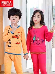 NANJIREN Pajamas-Sets Thermal-Underwear-Sets Child Chlidren Warm for Cartoon Gold Fleece