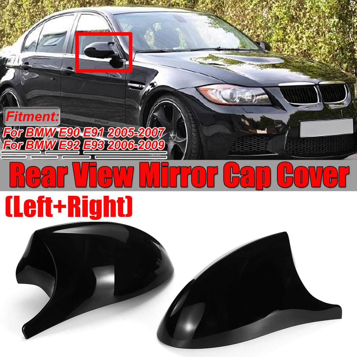 2x Real Carbon Fiber/ABS Mirror Cover E90 Car Side Rearview Side Mirror Cover Cap For BMW E90 E91 E92 E93 M3 Style E80 E81 E87