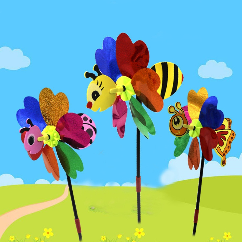 3D Bee Windmill Insect Pinwheel Wind Spinner Cute Whirligig Toys Outdoor Lawn Decor Colorful Yard Garden Decor  Color Random