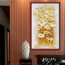 2017 5D DIY Diamonds Embroidery Golden Lily Flower Painting Cross Stitch Kits Home Living Room Decor Round Diamond Wall Stickers new full 5d diy daimond painting cross switch hedgehog taxi 3d diamond square round rhinestones embroidery