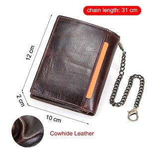 Image 2 - CONTACTS 100% กระเป๋าสตางค์ผู้ชายหนังแท้กระเป๋าเหรียญขนาดเล็กChain Design PORTFOLIO Portemonneeกระเป๋าสตางค์ชายRetroกระเป๋าใส่นามบัตร