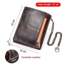 Genuine Leather Men Wallet Small Coin Purse Chain Design Male Wallets Retro Card Holder Bags