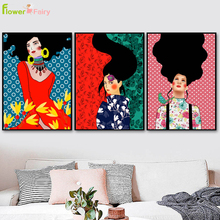 Abstract Hair Fashion Girl Wall Pictures For Living Room Flowers Modern Nordic Poster Art Canvas Painting Picture Unframed