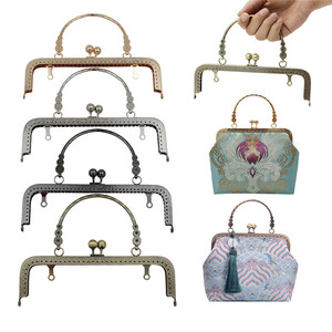Image 5 - HAOFA 4pcs 20cm Small Flower Handle Sewing Purse Metal Frames Antique Accessories For Bag kiss clasp bag frame