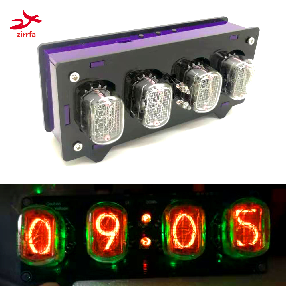 Zirrfa  Electronic DIY Kit In12 Nixie Tube Digital LED Clock Gift Circuit Board PCBA With Acrylic , No Tubes