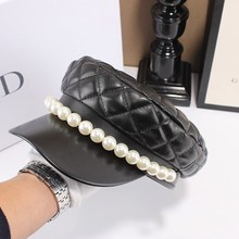 2020 New Retro Plaid PU leather Berets Spring Autumn pearls Beret