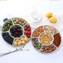 1 pc 6-Compartment Food Storage Tray Dried Fruit Snack Plate Appetizer Serving Platter for Party Candy Pastry Nuts Dish