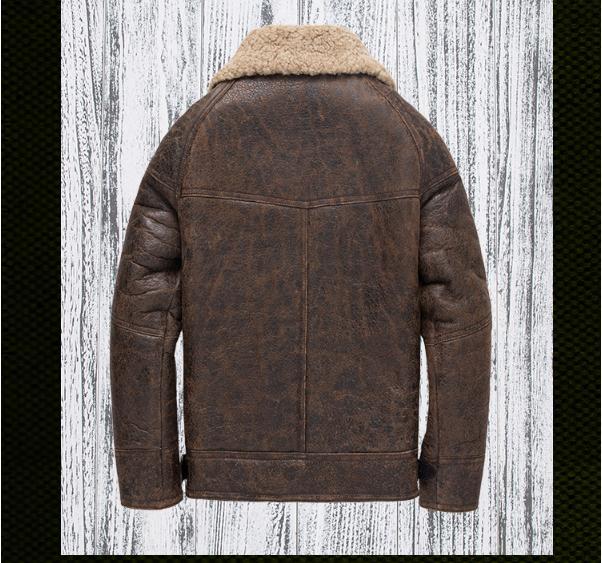 H17e01cdf2930434f8f83706c47e7590e4 Free shipping,Winter thick Genuine Sheepskin coat,B3 Wool Shearling,warm fur jacket,mens plus size genuine leather jackets.