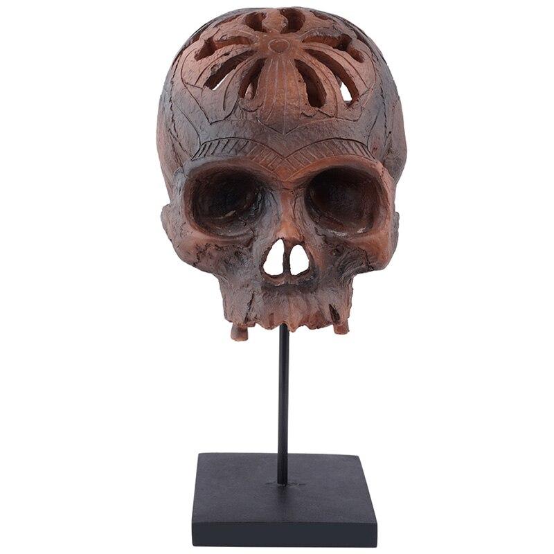 HeyMamba Resin Human Head Skull Statues Display Skeleton Skull Sculpture Halloween Home Bar Decoration
