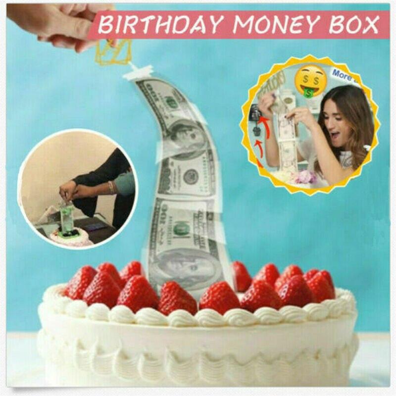 Cake ATM Happy Birthday Cake Topper Money Box Funny Cake ATM Happy Birthday Baking Decor Pull Money Surprise Box Cake Tool