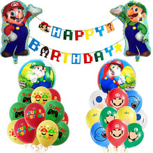 1 conjunto super mario balões jogo balões feliz aniversário banner herói fabricante festa decorações verde vermelho luigi bros látex folha baloon