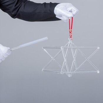 Pirámide musical de cristal merkaba, 5 pulgadas y 6 pulgadas, para la curación de energía, con cadena y varita de cristal