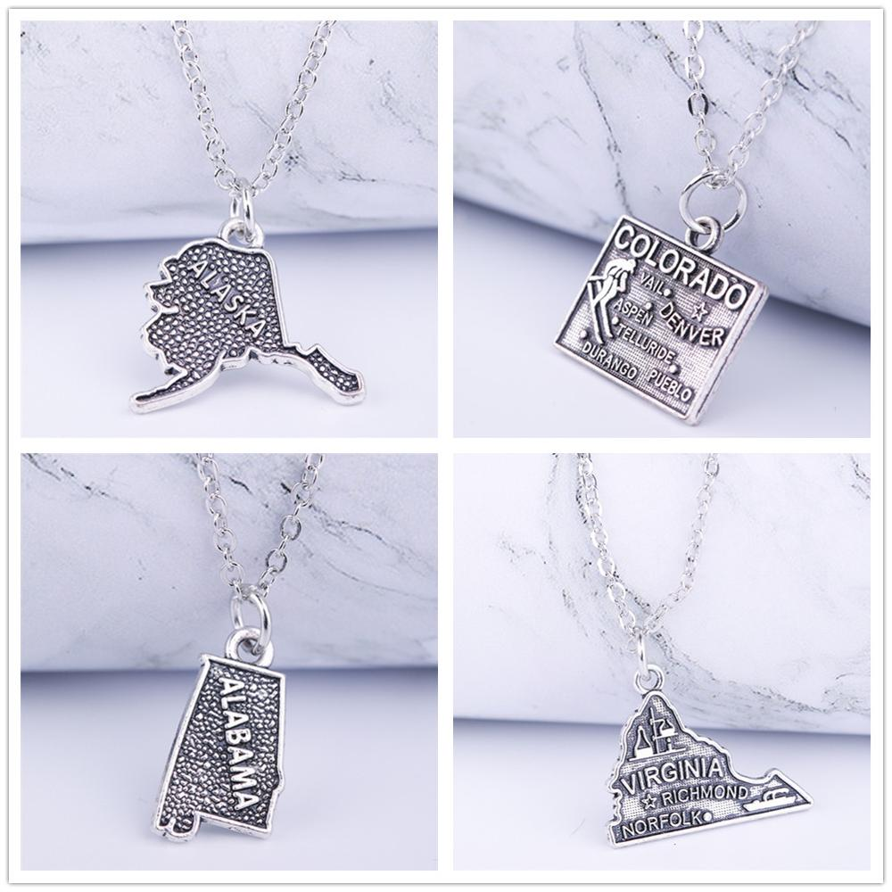 Skyrim American Continents Geography Map Necklace Antique Silvery City Message Charm Pendant Necklaces Alaska California Alabama(China)