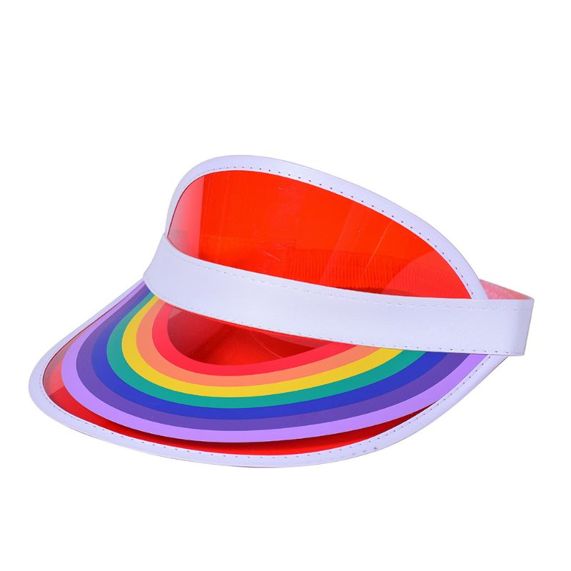 Women Men Summer Plastic Sun Visor Hat Rainbow Bridge Print Empty Top Transparent UV Protection Hip Hop Tennis Elastic Beach Cap