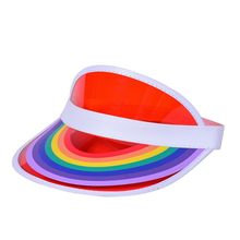 Women Men Summer Plastic Sun Visor Hat Rainbow Bridge Print Empty Top Transparent UV Protection Hip Hop Tennis Elastic Beach Cap