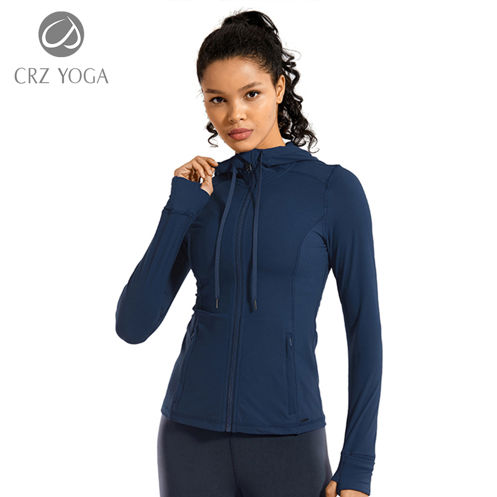 CRZ YOGA Women's Brushed Full Zip Hoodie Jacket Sportswear Hooded Workout Track Running Jacket with Zip Pockets