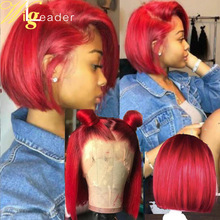 Wigs Short Remy-Hair Lace-Frontal Free-Style Red Bob Preplucked 13x6 Wigleader