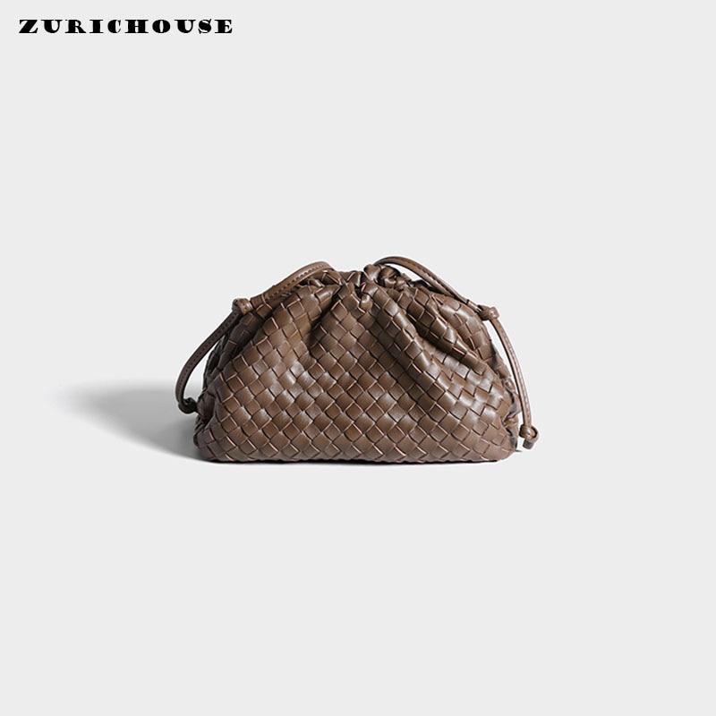 ZURICHOUSE Brand Weave Clutch Women Luxury Genuine Sheep Skin Leather Shoulder Messenger Bags Ladies Dumpling Cloud Purse