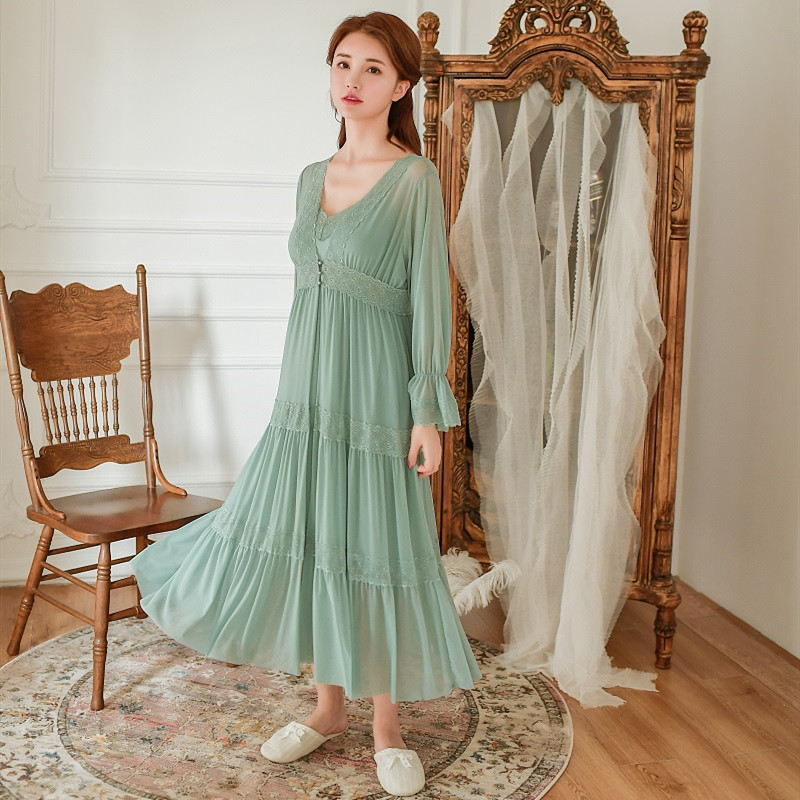Soft Modal 2 Pieces Women's Robe Sets Spring Autumn Vintage Princess Gauze Long Sleepwear Girls Tiered Night Dress Home Wear