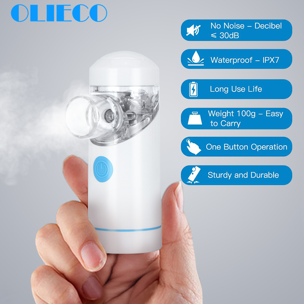 OLIECO Mini Handheld Mesh Nebulizer Inhaler USB Rechargeable Ultrasonic Silent Atomizer For Asthma Cough Rhinitis Children Adult